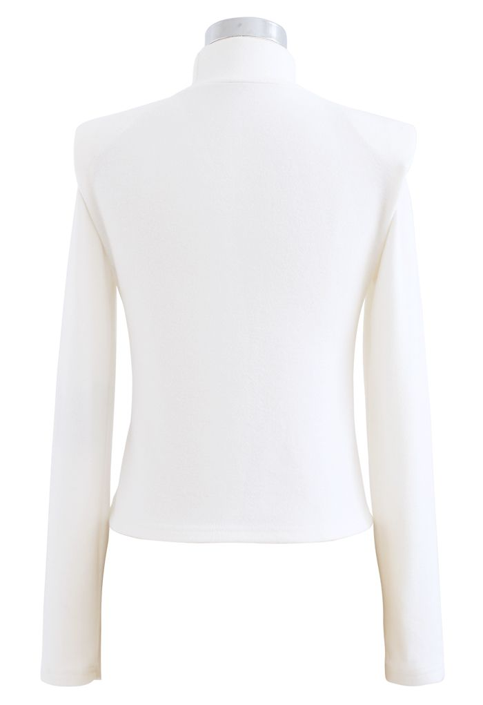 Padded Shoulder High Neck Fleece Top in White