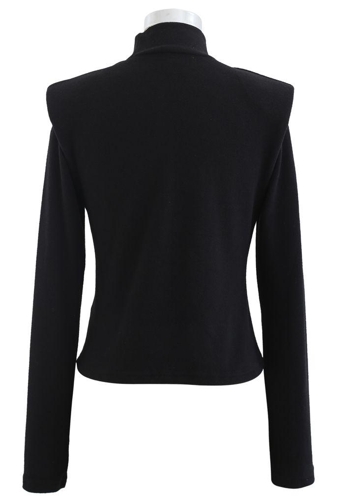 Padded Shoulder High Neck Fleece Top in Black