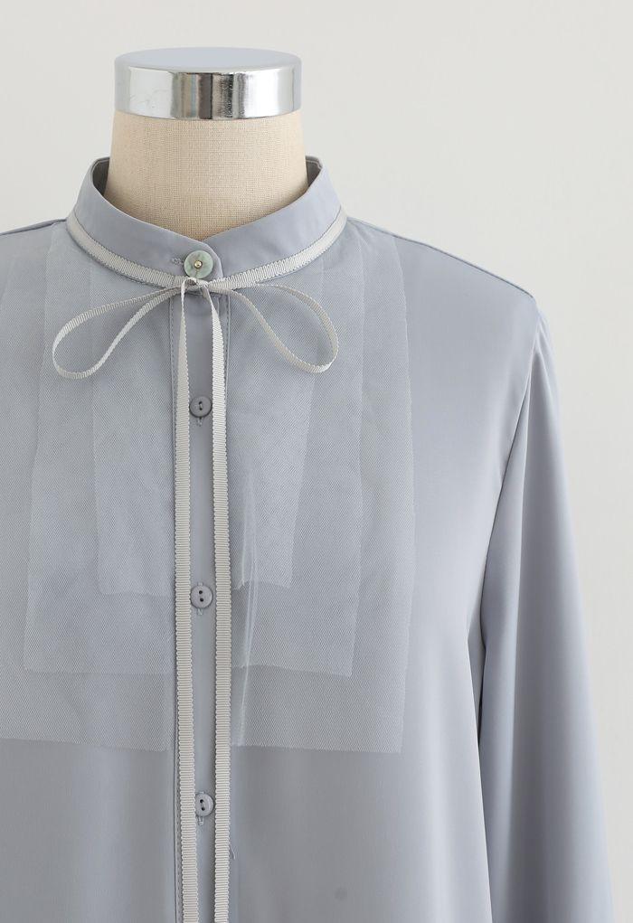 Ribbon Tie Mesh Neck Satin Shirt in Dusty Blue