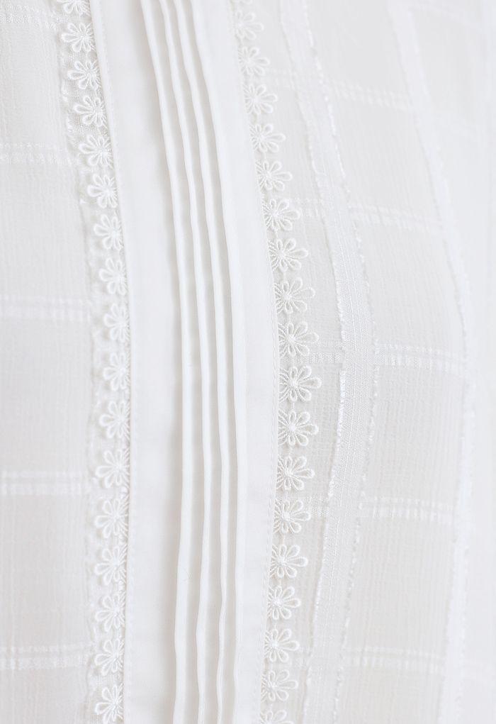 Floret Edge Mock Neck Textured Top