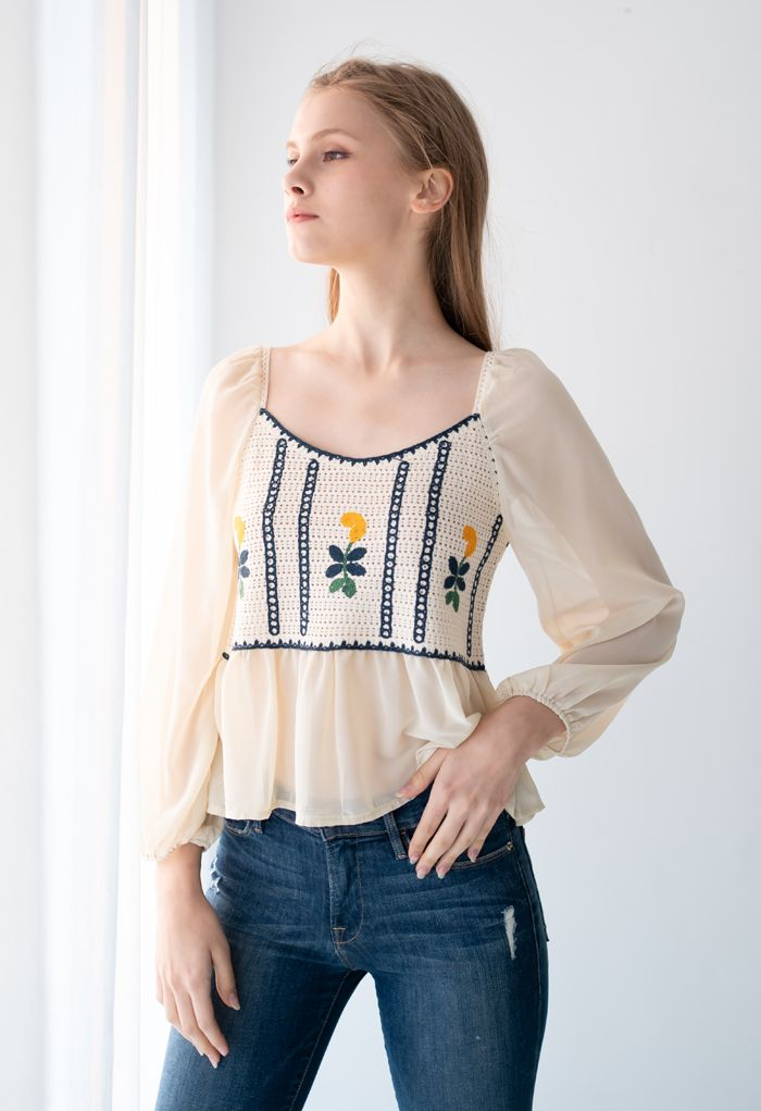 Embroidered Crochet Spliced Peplum Top