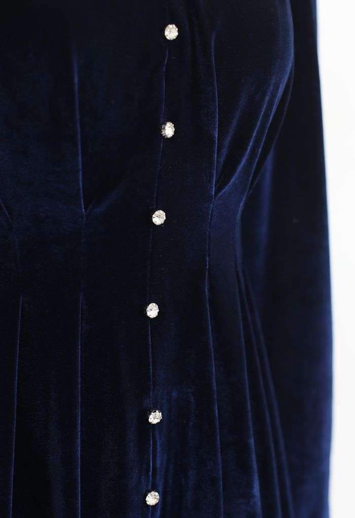 Button Trim V-Neck Velvet Dress in Navy