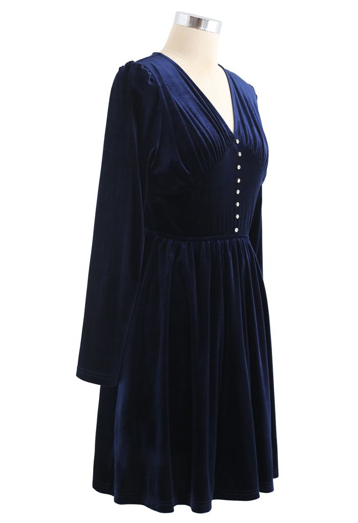 Button Trim V-Neck Ruched Velvet Dress in Navy
