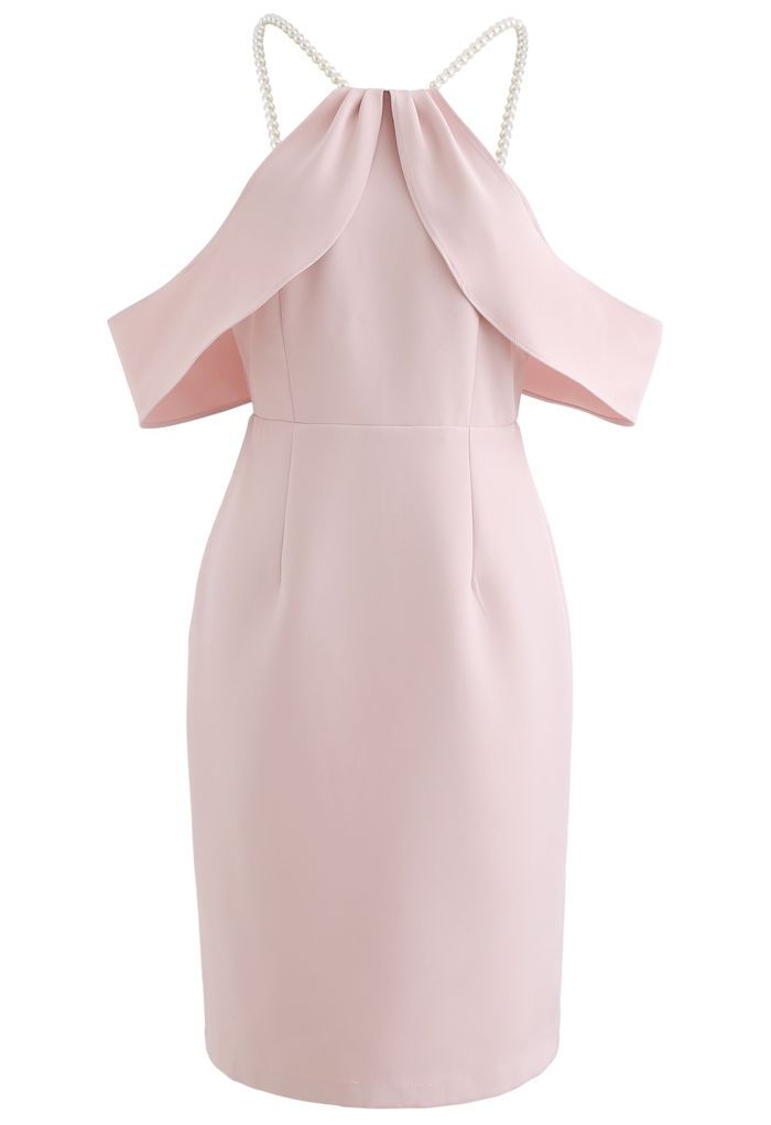 Pearl Strap Cold-Shoulder Shift Dress in Pink
