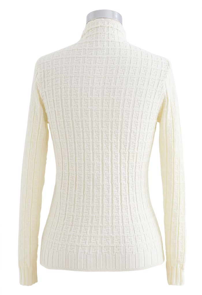 Maze Embossed High Neck Fitted Knit Top in Cream