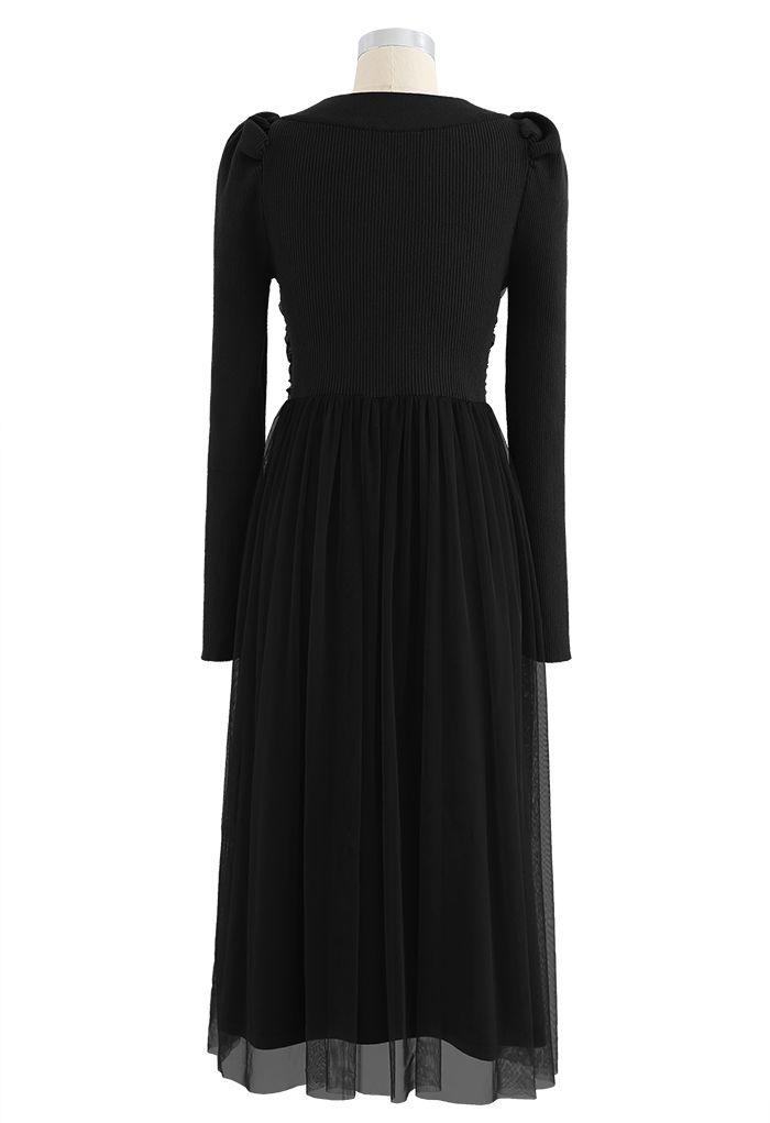 Square Neck Shirred Tulle Mesh Rib Knit Dress in Black