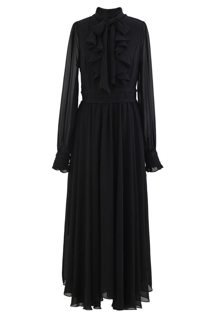 Scarf Neck Ruffle Asymmetric Maxi Dress in Black