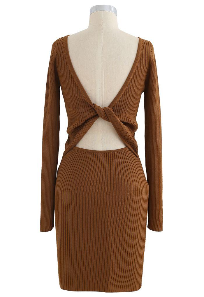 Twist Back Ribbed Bodycon Knit Dress in Caramel