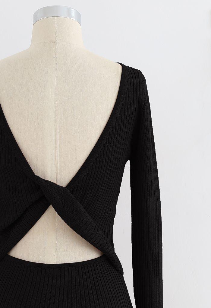 Twist Back Ribbed Bodycon Knit Dress in Black