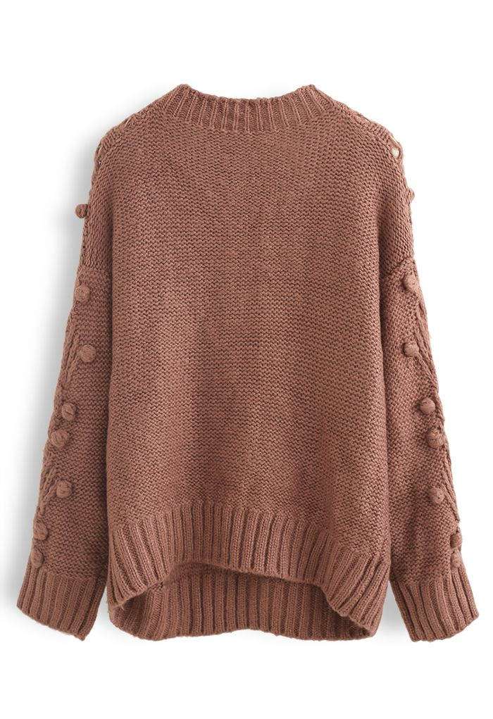 Cable Pom-Pom Eyelet Knit Sweater in Rust Red