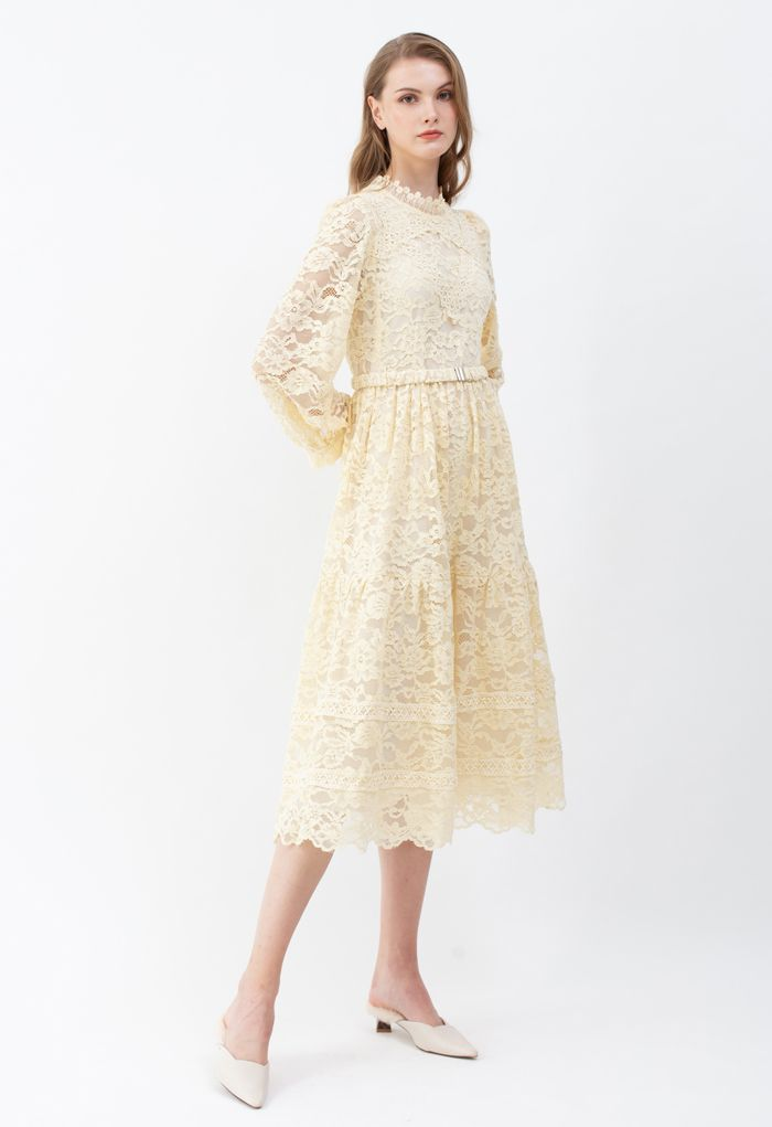 Belted Full Lace Frilling Dress in Cream