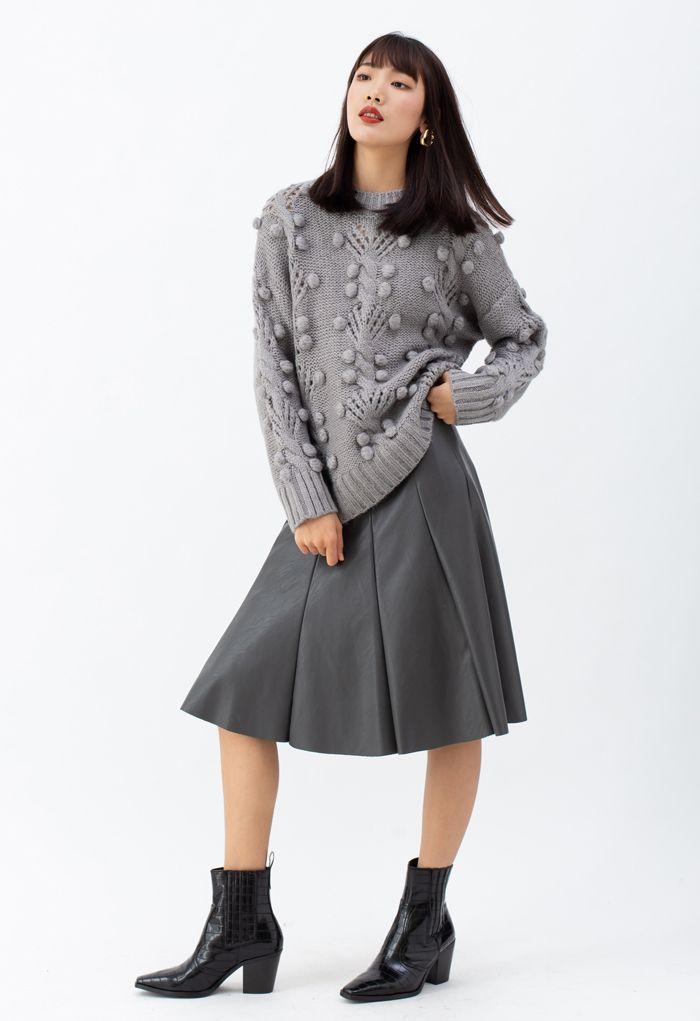 Cable Pom-Pom Eyelet Knit Sweater in Grey