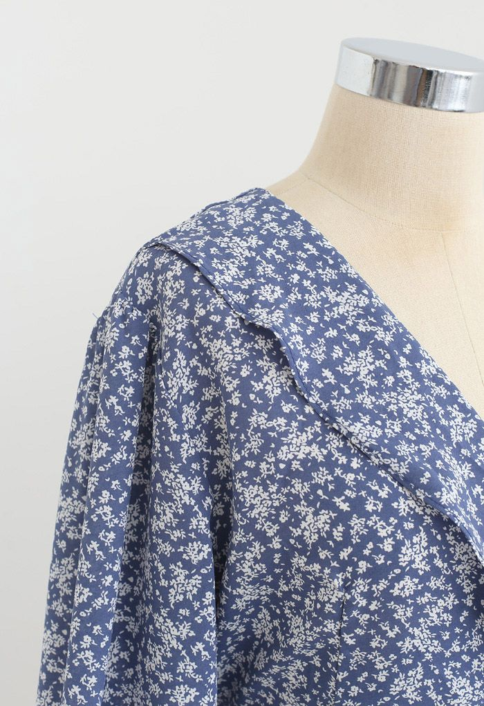 Tiny Floral Tie Waist Asymmetric Dress in Blue