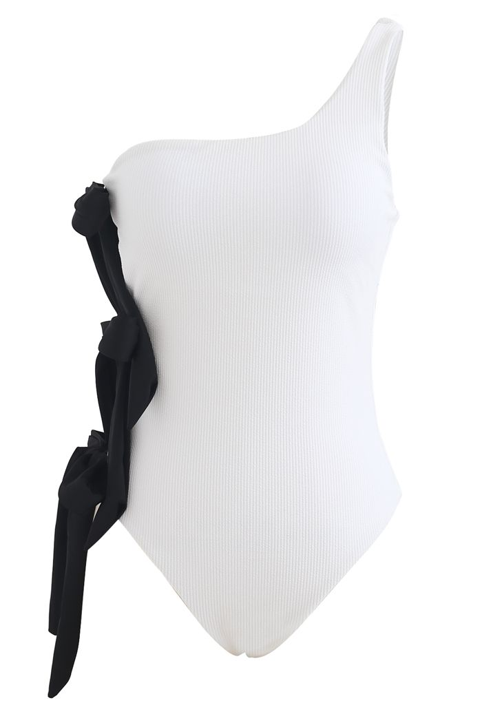 Bowknot Side One-Shoulder Swimsuit in White