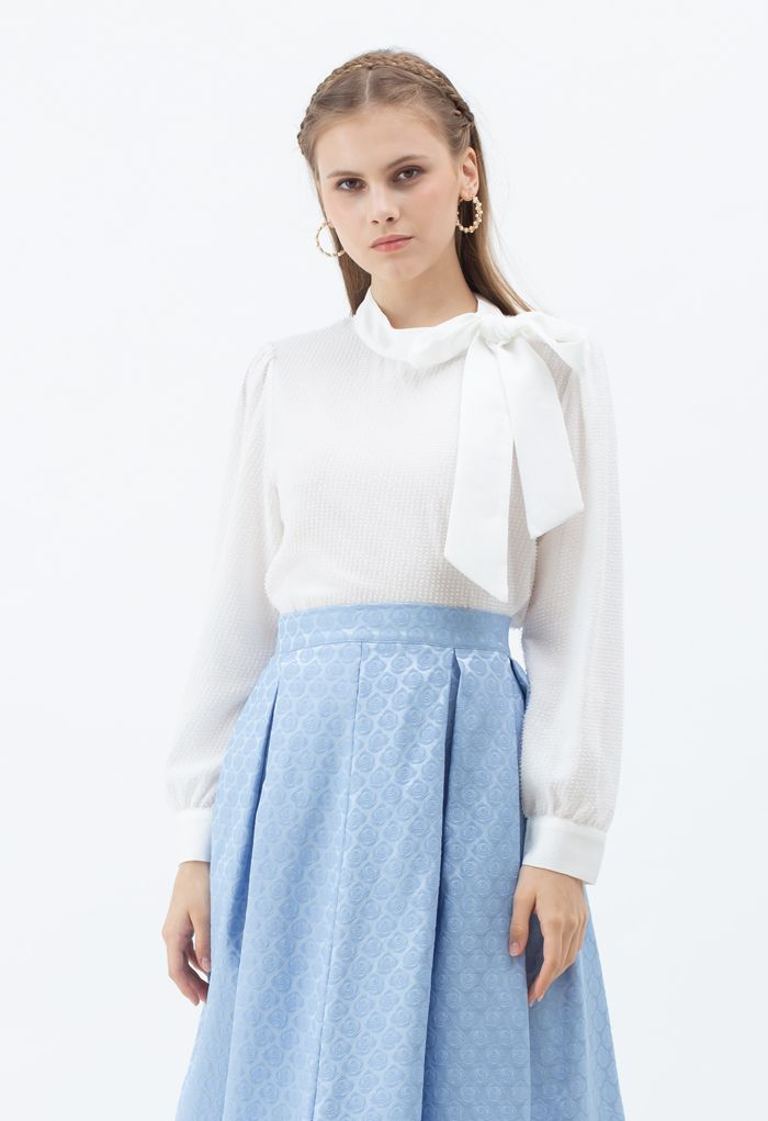 Tie a Bow Shimmer Tasseled Top in White
