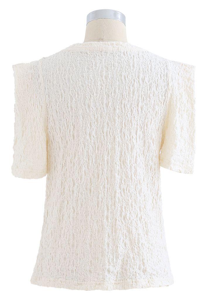 Embossed Folded Short Sleeve Top in Cream
