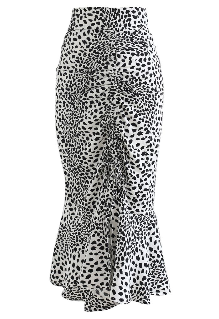 Dotted Drawstring Frilling Skirt in Ivory