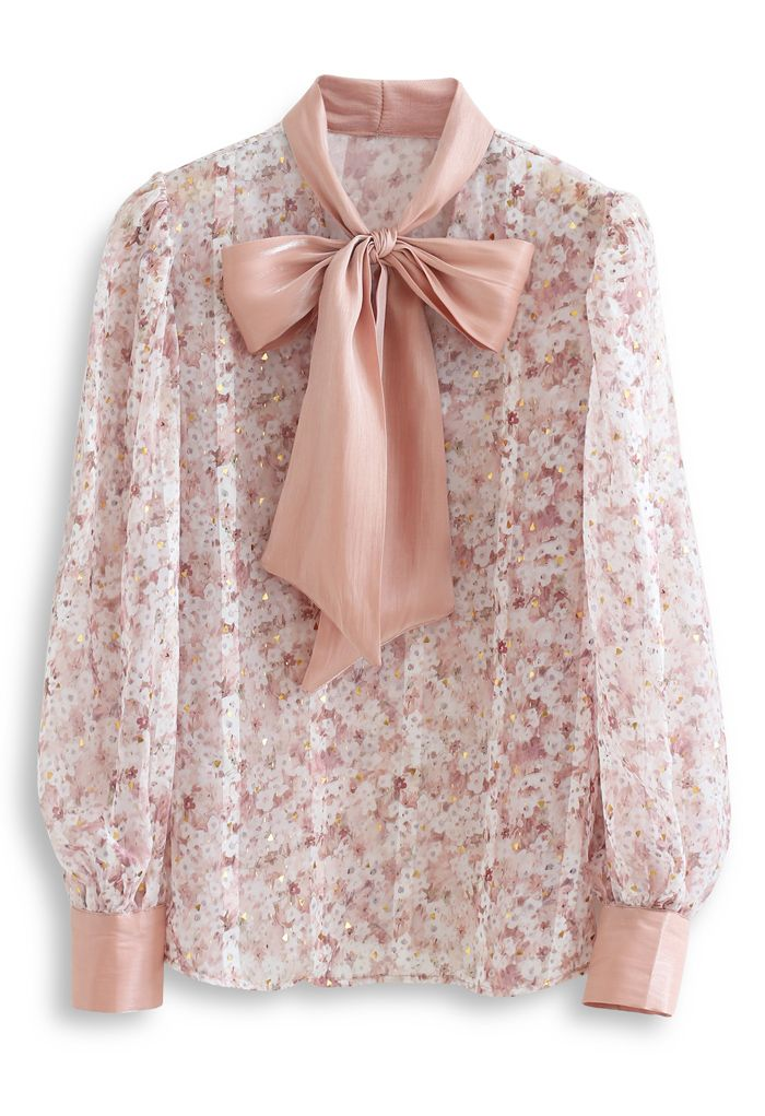 Bow Neck Floret Puff Sleeve Organza Shirt in Nude Pink