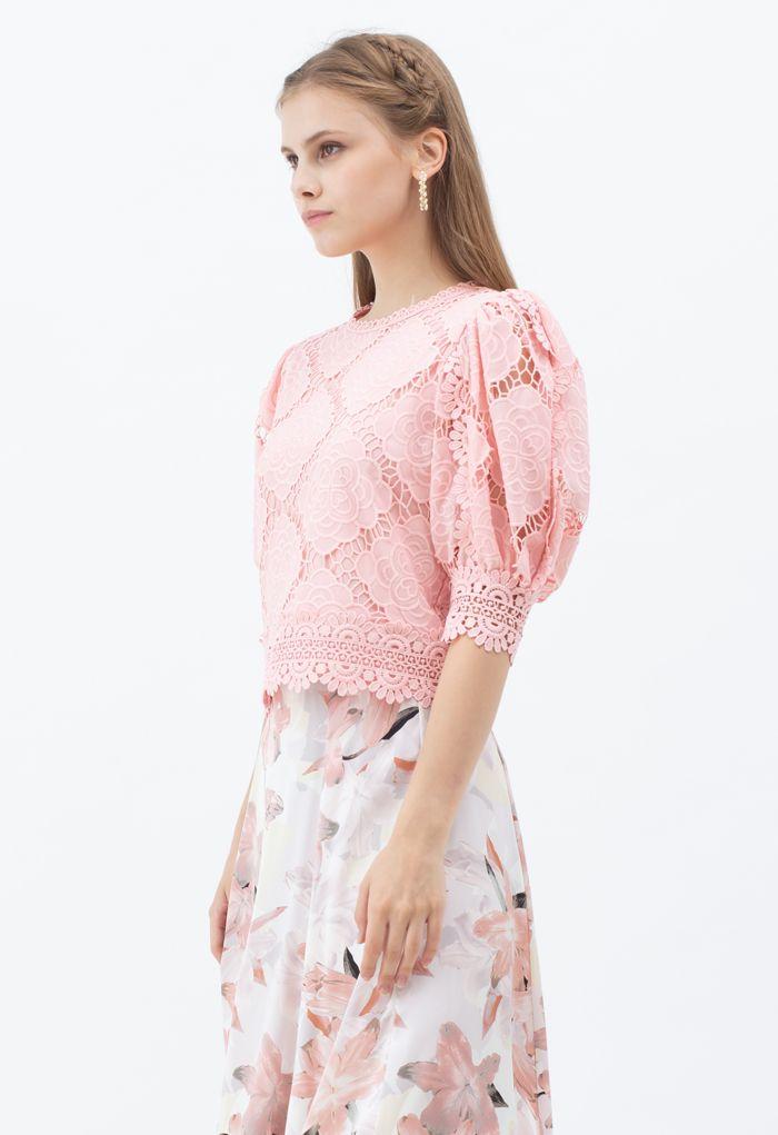 Blooming Flowers Crochet Bubble Sleeves Top in Pink