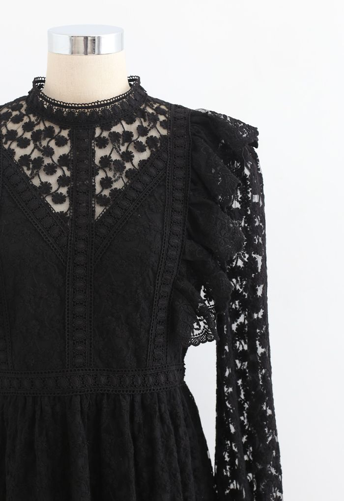 Full of Daisy Embroidered Ruffle Mesh Midi Dress in Black