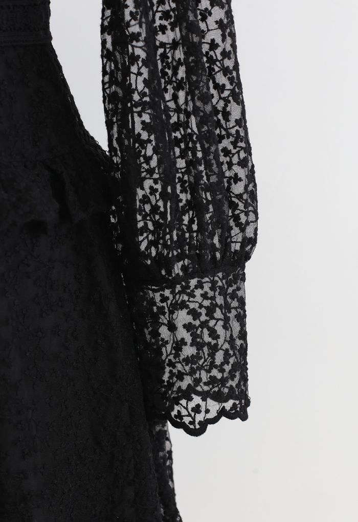 Full of Floret Embroidered Ruffle Mesh Dress in Black