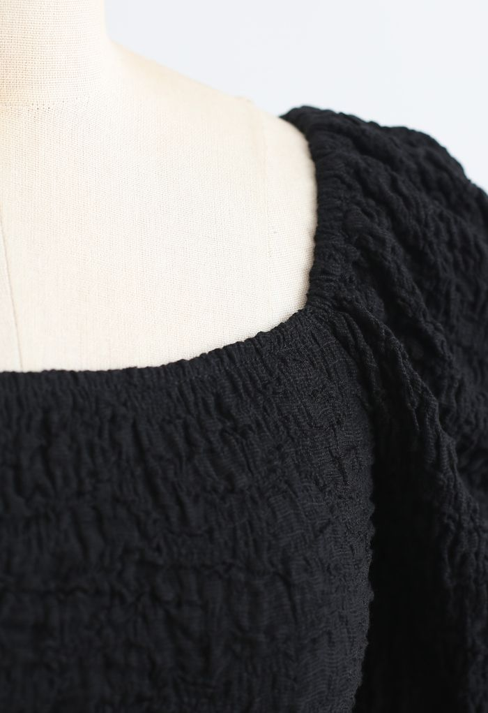 Embossed Square Neck Puff Sleeves Crop Top in Black