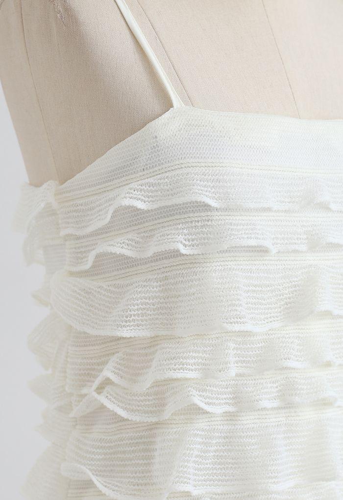 Tiered Ripple Knit Cami Midi Dress in Ivory