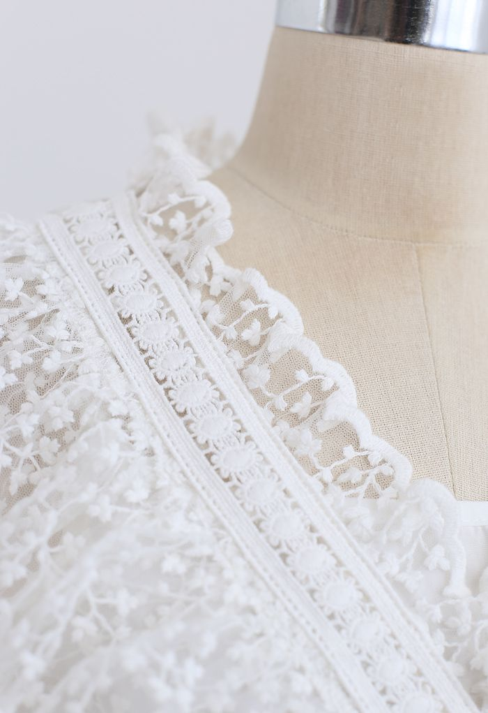 Full of Floret Embroidered Ruffle Mesh Dress in White