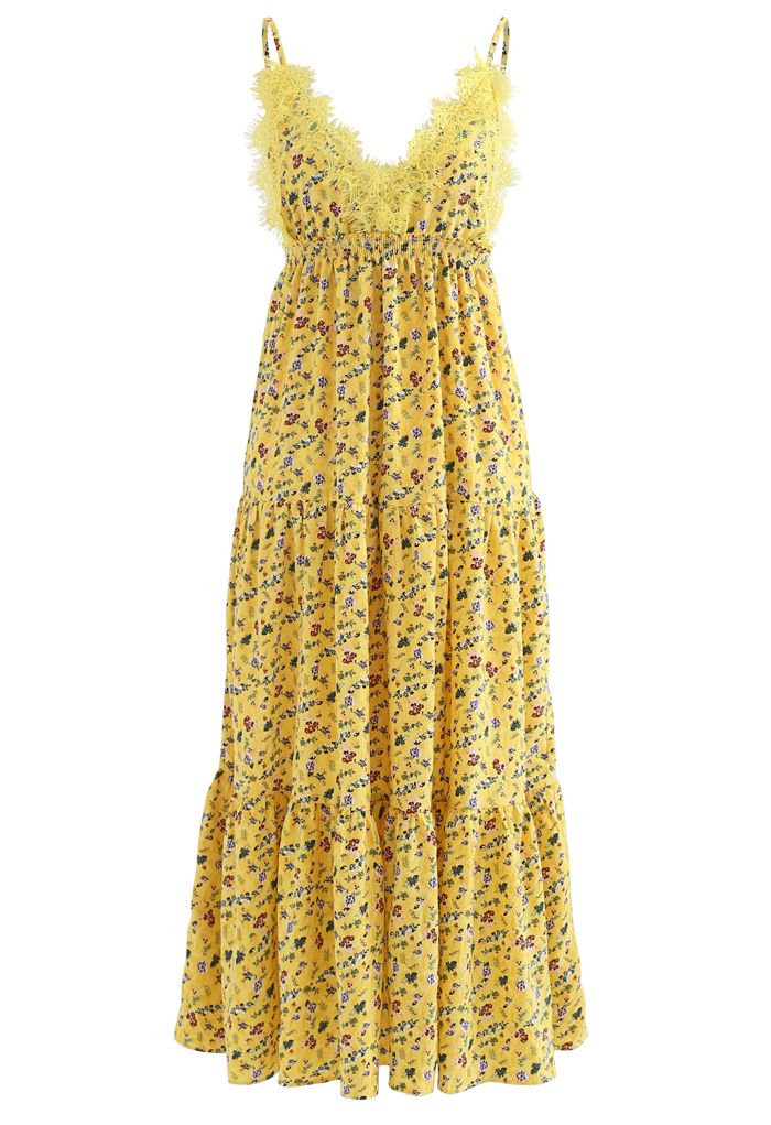Plunging V-Neck Floret Ruffle Cami Dress in Yellow
