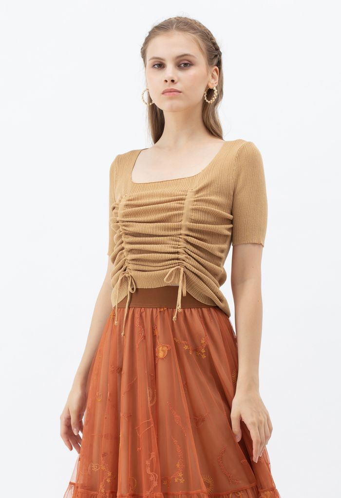 Ruched Drawstring Square Neck Knit Top in Orange