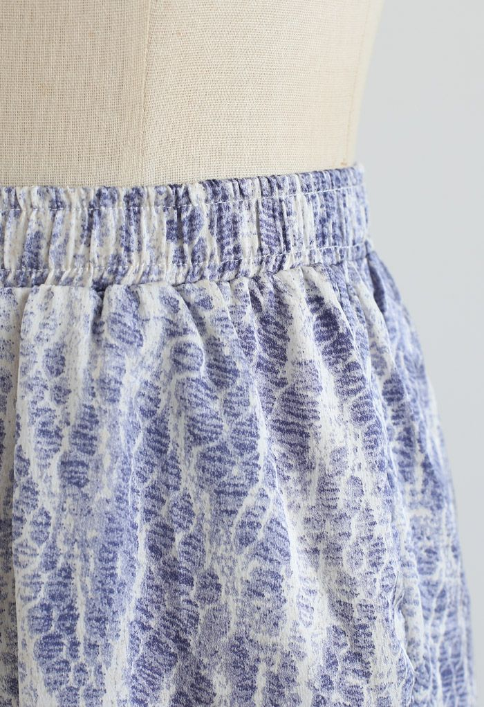 Zigzag Snake Print Wide-Leg Lounge Pants in Blue