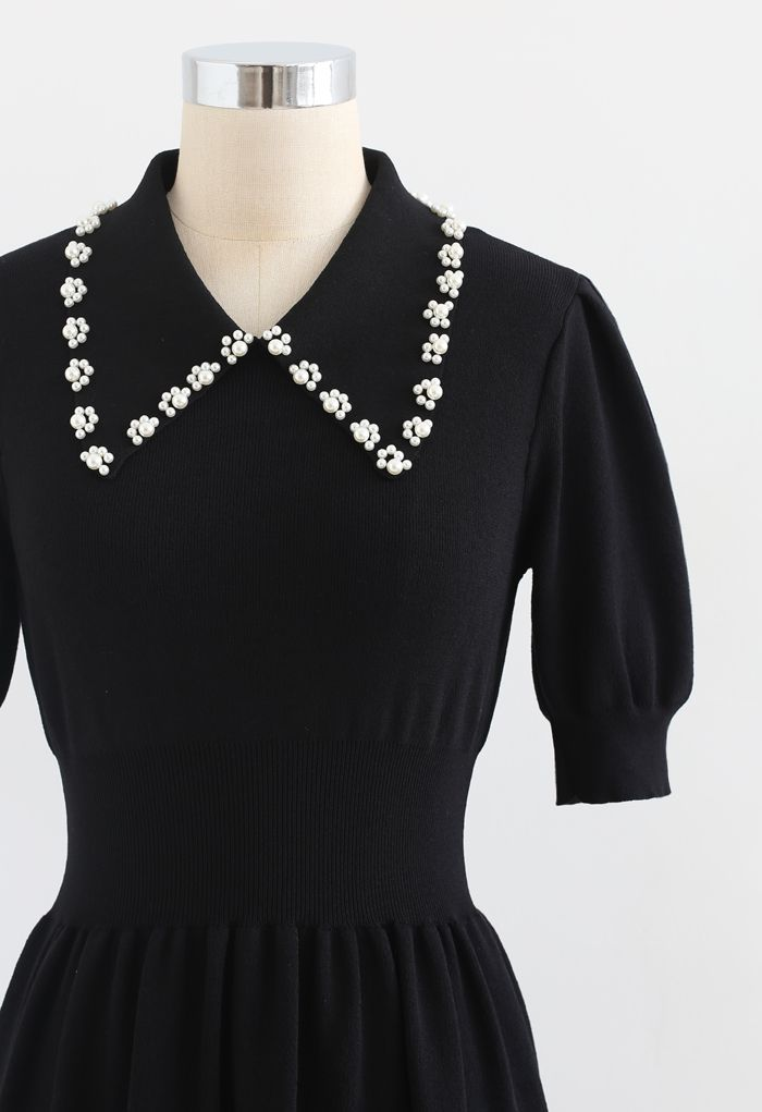 Pearly Collar Puff Sleeves Knit Skater Dress in Black
