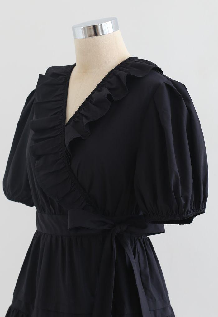 Short Sleeves Wrap Tied Ruffle Dress in Black