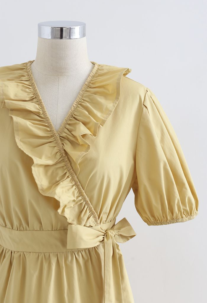 Short Sleeves Wrap Tied Ruffle Dress in Mustard