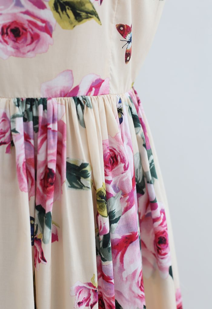 Blooming Pink Rose Printed Pleated Cotton Dress in Light Yellow