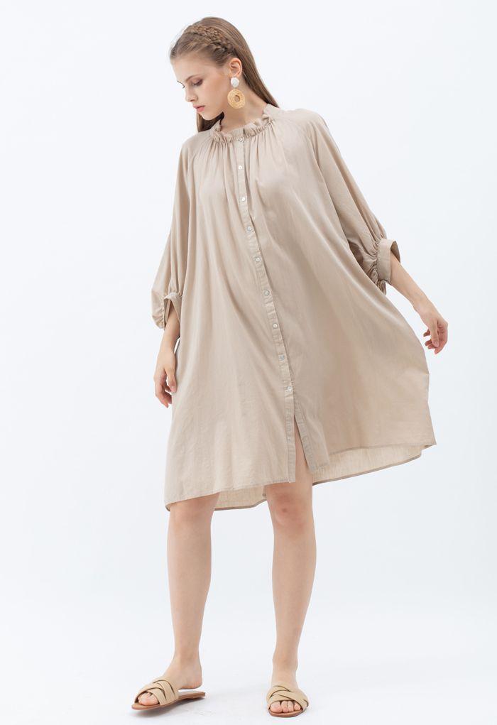 Breezy Bubble Sleeve Longline Shirt Dress in Tan