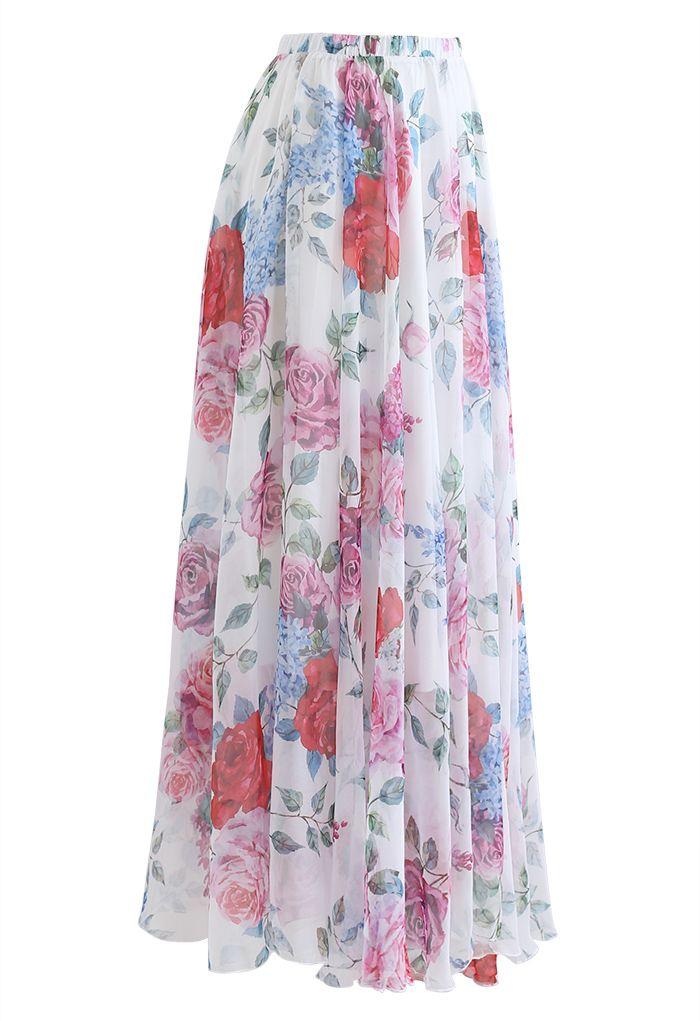 Romantic Moment Rose Print Maxi Skirt