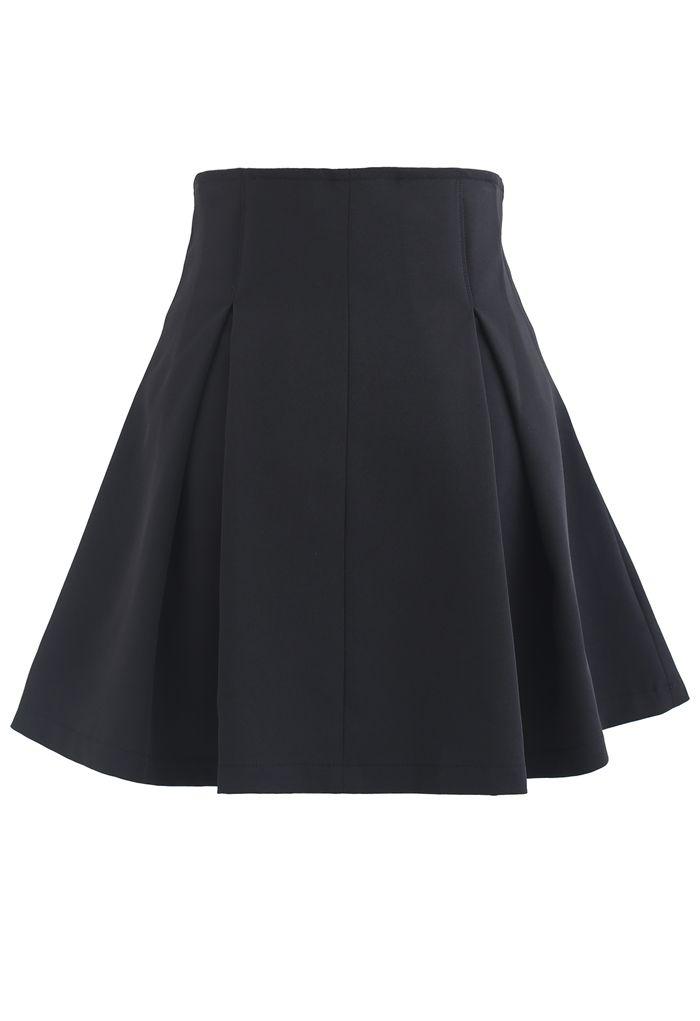 High Waist Corset Pleated Mini Skirt in Black
