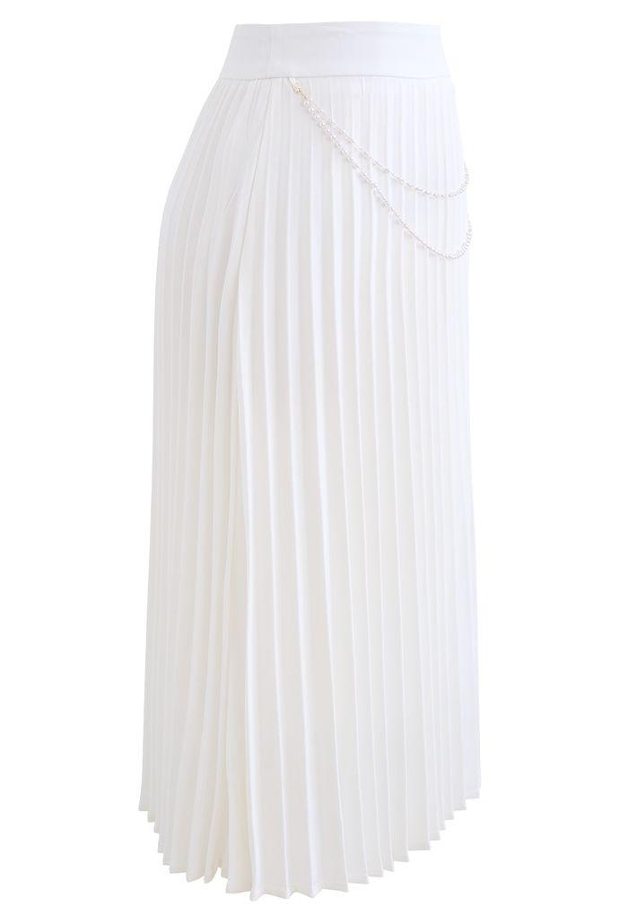 Draped Chain Pleated Midi Skirt in White