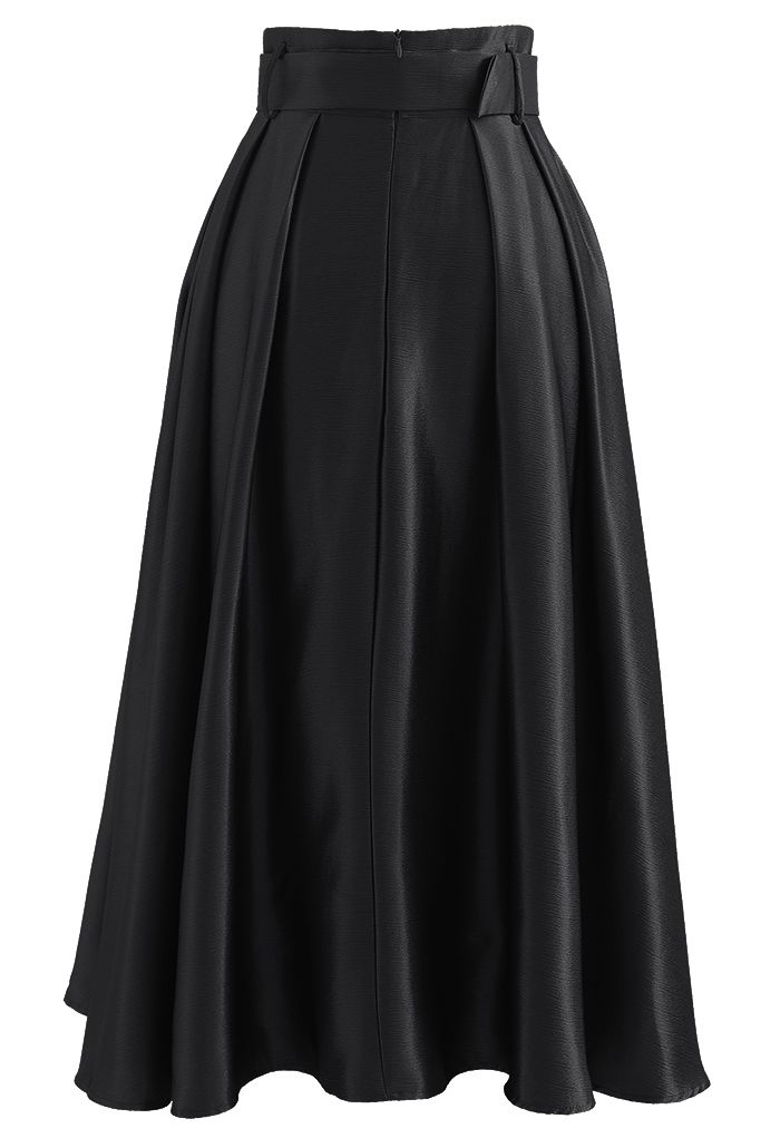Belted Texture Flare Maxi Skirt in Black