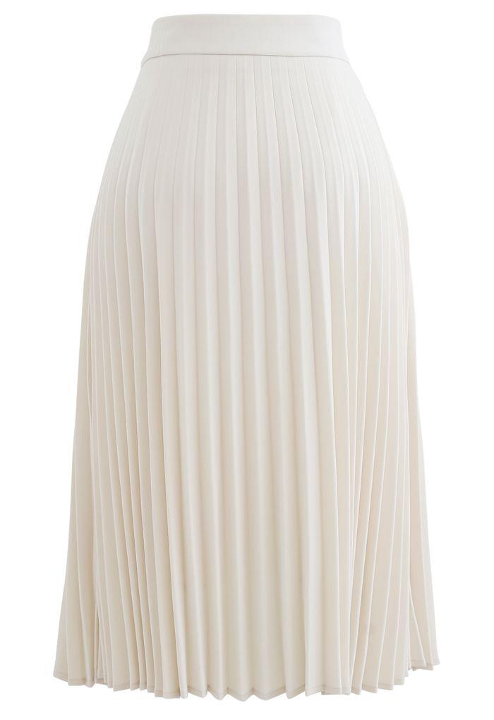 Draped Chain Pleated Midi Skirt in Cream