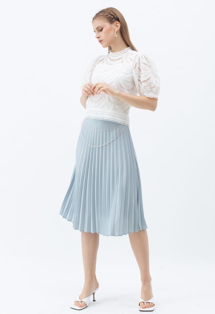 Draped Chain Pleated Midi Skirt in Dusty Blue