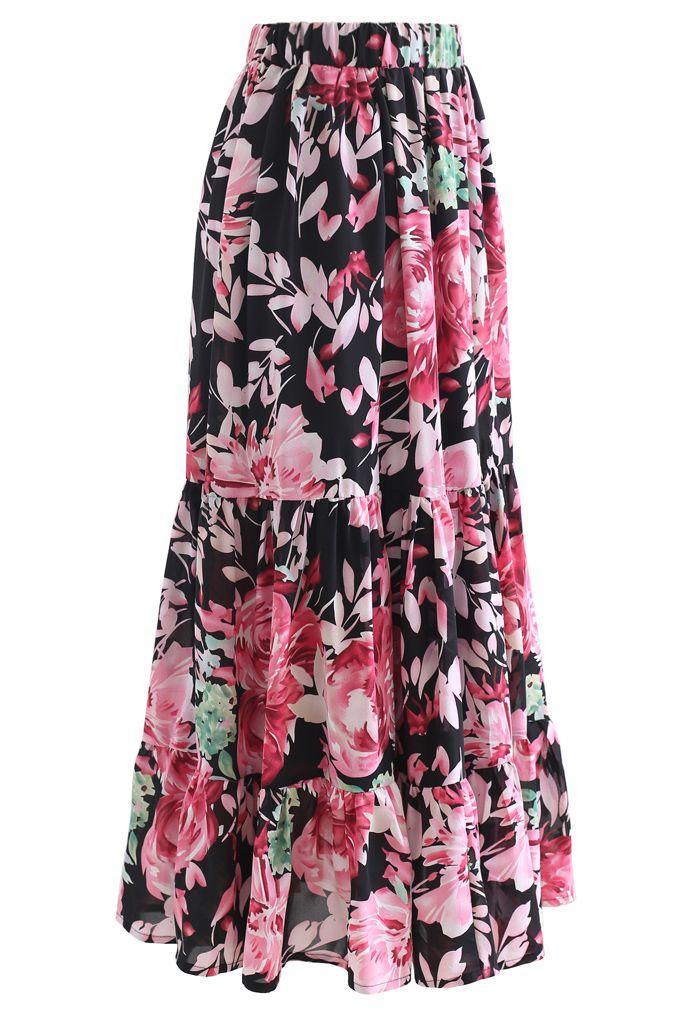 Blooming Peony Watercolor Frill Hem Maxi Skirt in Black