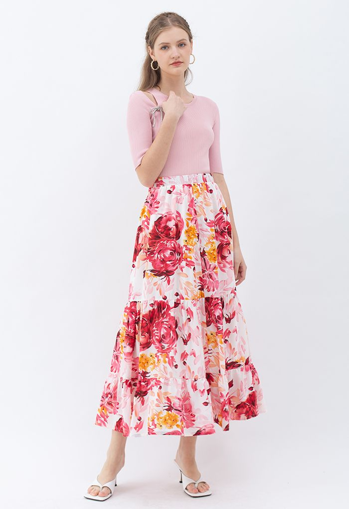 Blooming Peony Watercolor Frill Hem Maxi Skirt in White