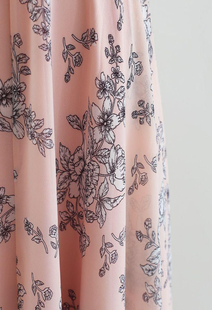 Sketch Peony Chiffon Maxi Skirt in Pink