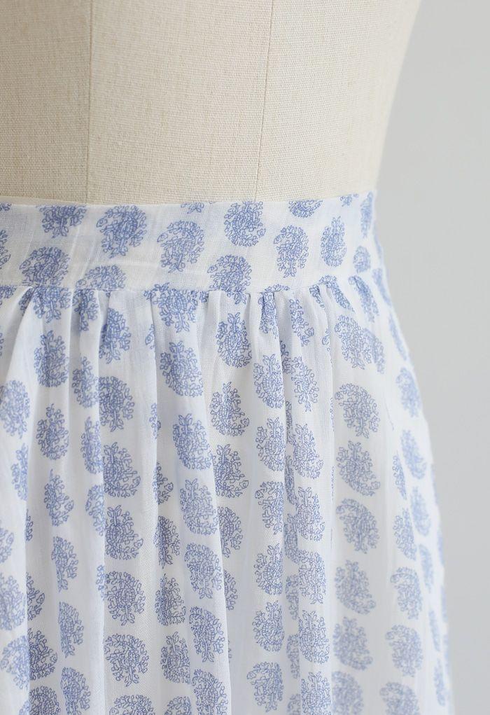 Tender Floral Frill Hem Maxi Skirt in Blue
