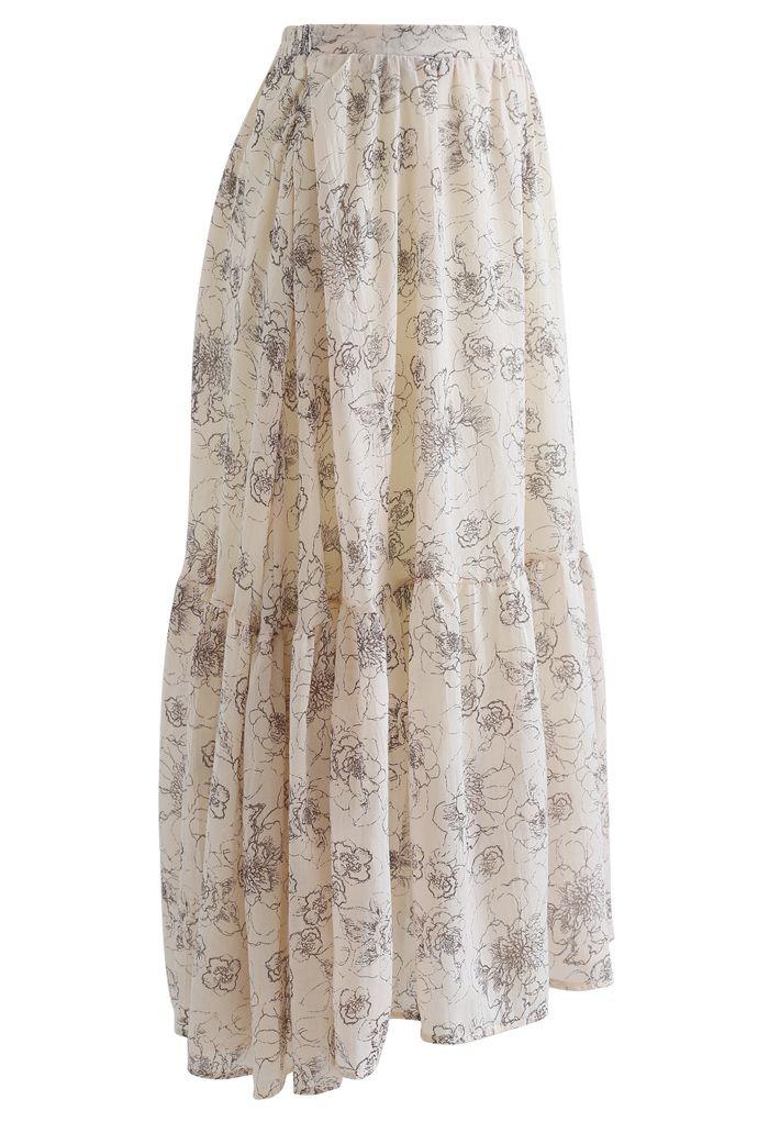 Aesthetic Floral Frill Hem Maxi Skirt in Light Tan
