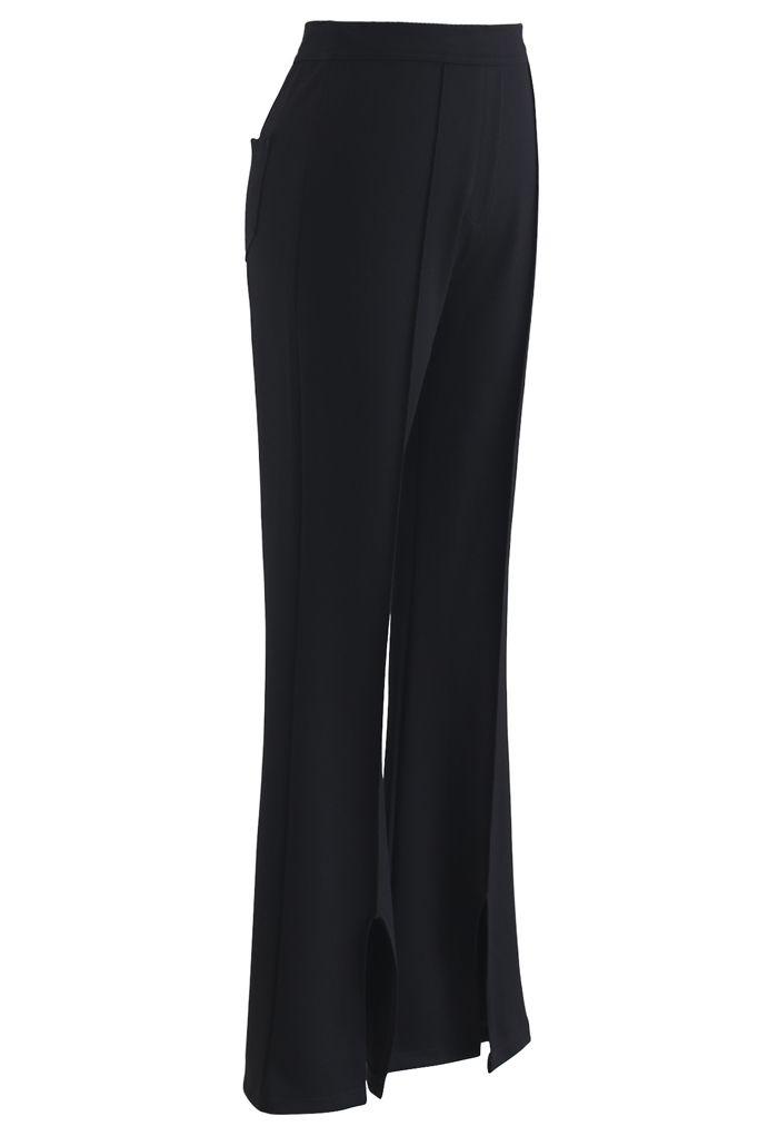 Black Front Slit Skinny Pants