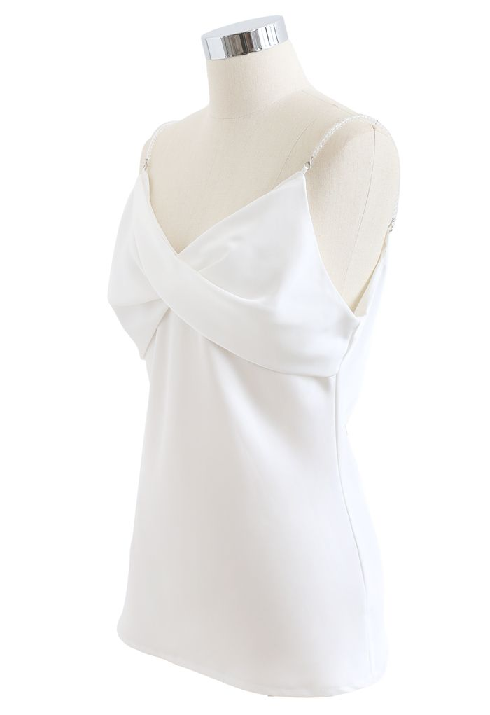 Crystal Straps Twist Bust Cami Tank Top in White