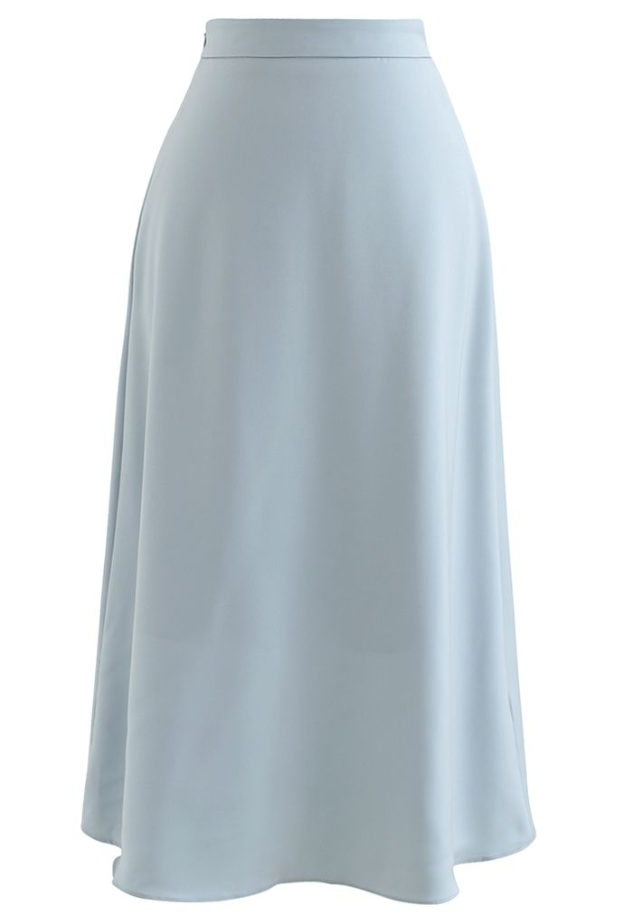 Basic Smooth A-Line Midi Skirt in Dusty Blue